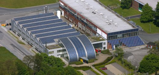 Aerial photo, Shell Solar Factory Rotthausen, Gelsenkirchen, Ruhr area, North Rhine-Westphalia, Germany, Europe